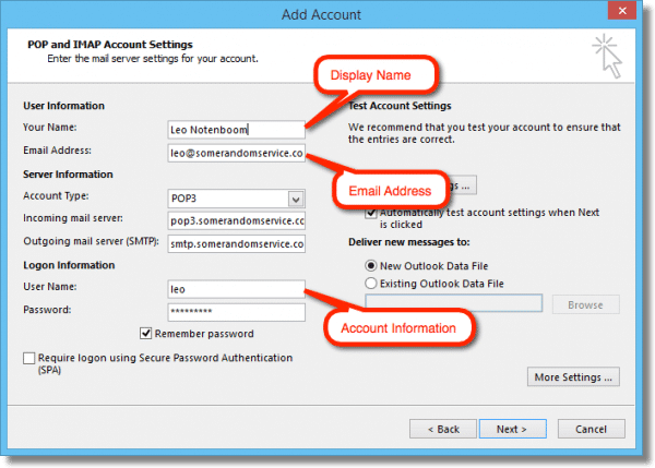 Outlook Display Name, Email Address and Account Information
