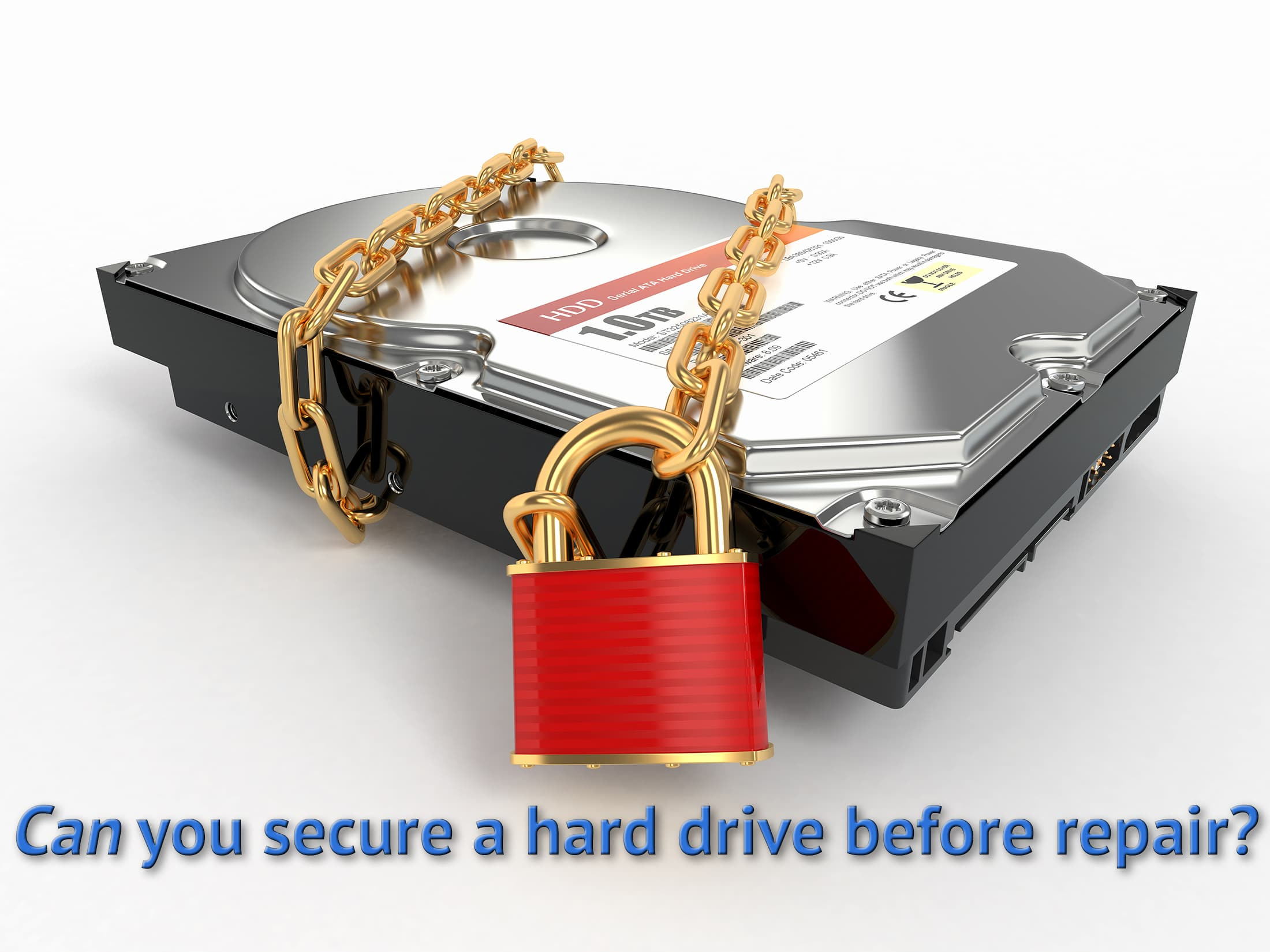 How do I secure a hard drive before sending it in for repair