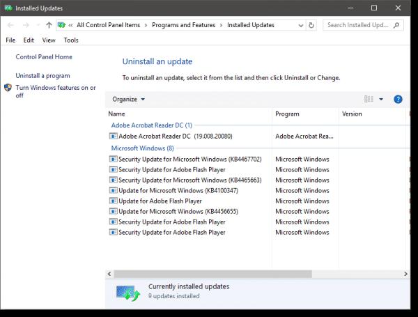 Uninstallable Updates in Windows 10