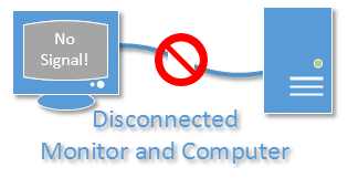 Disconnected Monitor and Computer