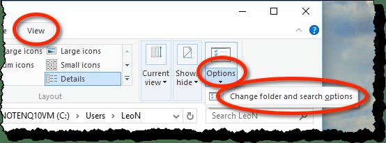 Windows 10 View Options
