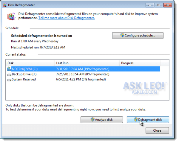 Defragging in Windows 7 (and later) - Ask Leo!