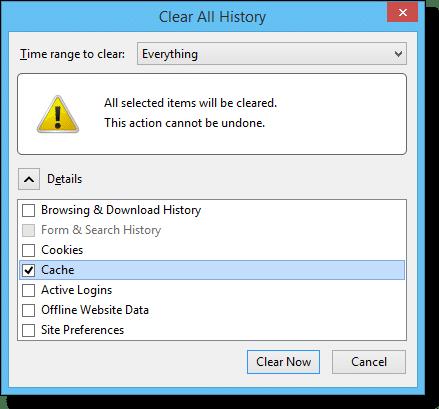 Firefox clear history dialog