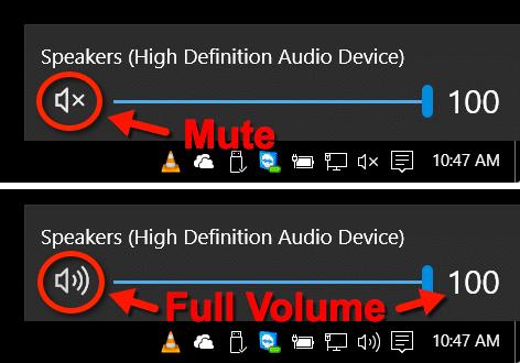 Muted Speakers in Windows 10