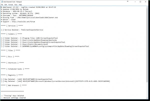 AdwCleaner Log File