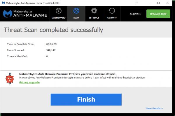 Malwarebytes Clean Scan