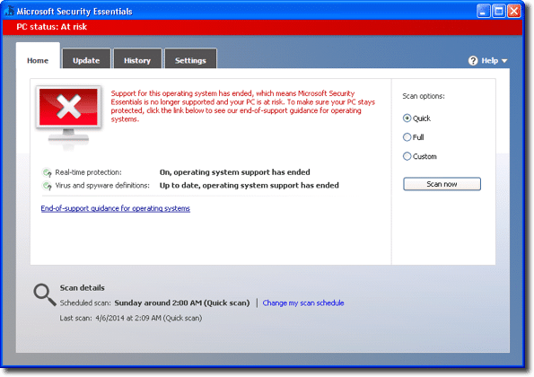 Is Microsoft Security Essentials supported on XP or not