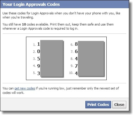 Two-Factor Authentication Codes