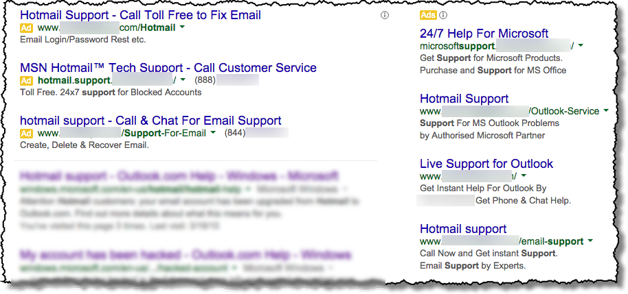 I searched and found a Hotmail support number, but is it legit