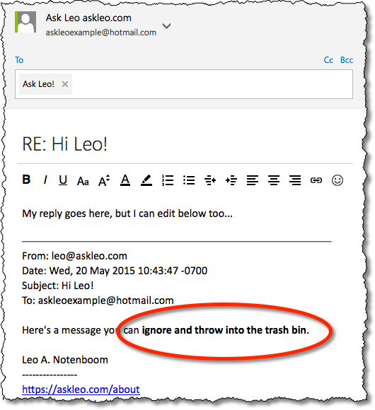 An Example of an Edited Reply