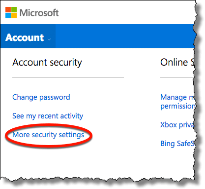 More security settings link