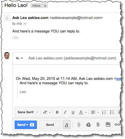 Reply in Gmail with ellipsis expanded