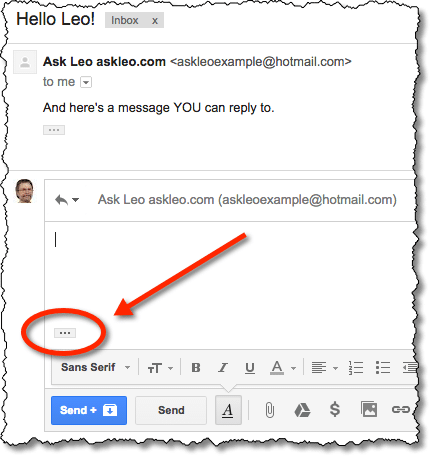 Reply example in Gmail