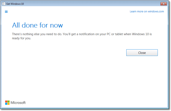 Windows 10 All Done status page
