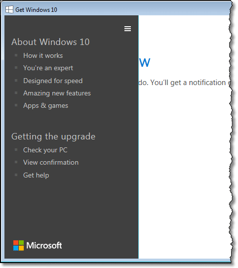 Windows 10 application menu
