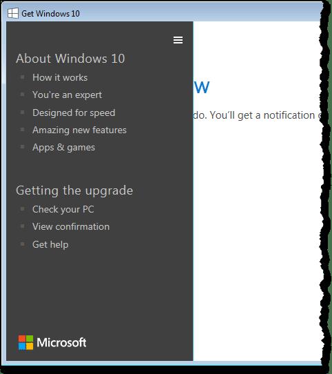 Windows 10 application menu