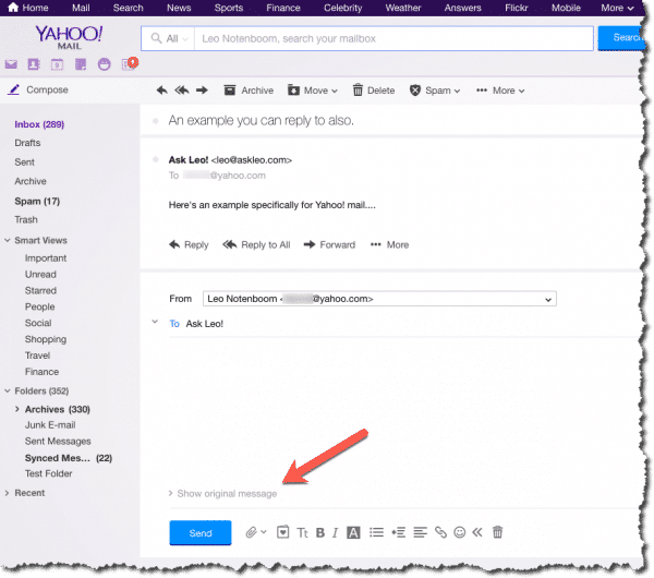 Reply in Yahoo!