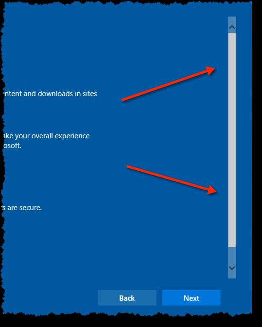 Customize Settings scroll bar