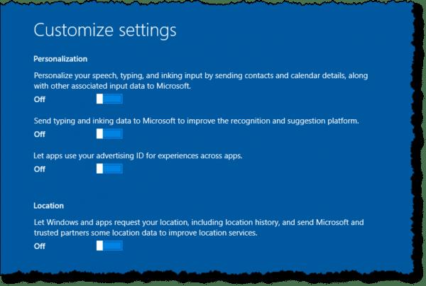 Setting customized settings