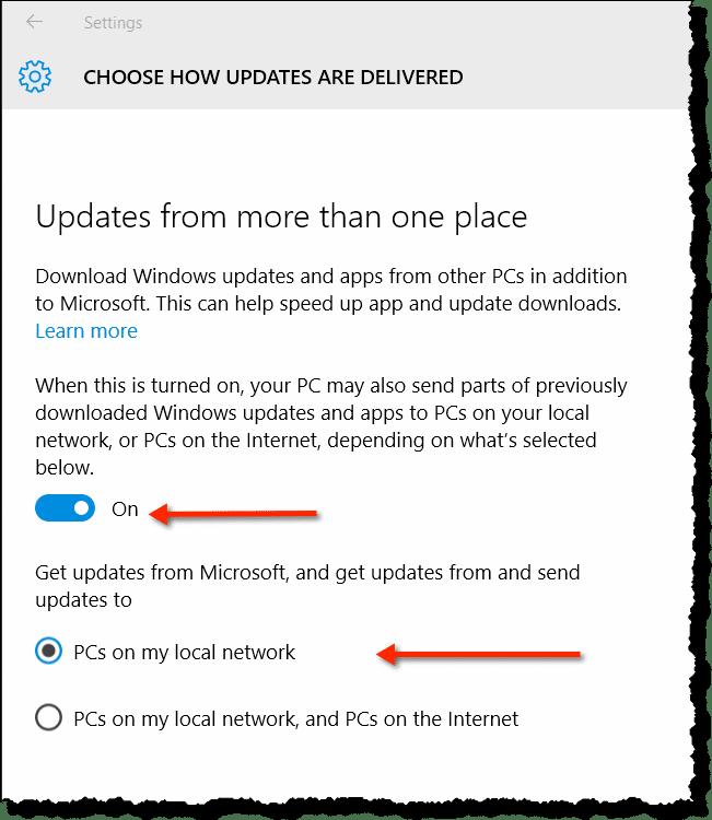 Turn off Windows 10 peer-to-peer delivery optimization ...