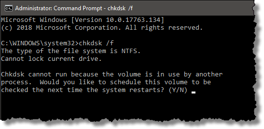 Chkdsk Cannot Run Because the Volume Is in Use by another