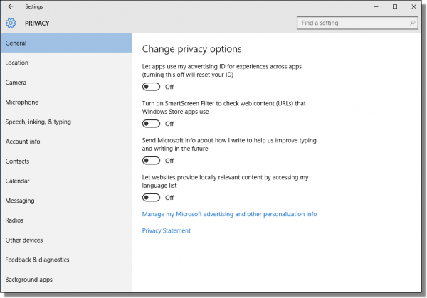 Windows 10 Change Privacy Options