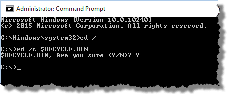 Fix the Recycle Bin by Deleting in CMD
