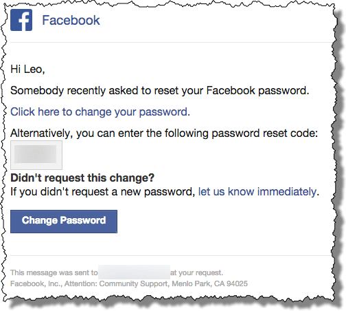 Why cant i change my password on facebook