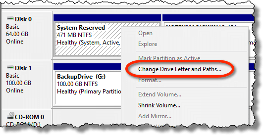 Right clicking on a drive without a letter