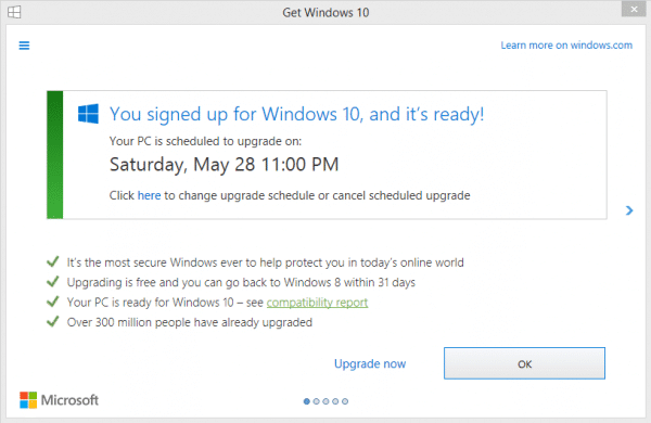 Windows 10 Update Dialog
