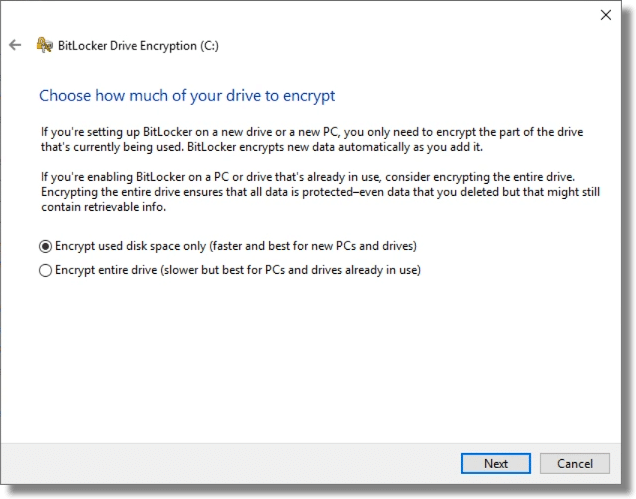 BitLocker - How Much To Encrypt Now