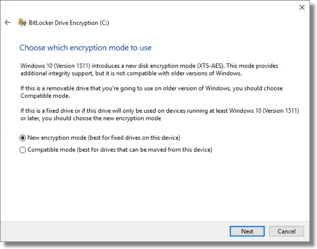 "Bitlocker ""Mode"""