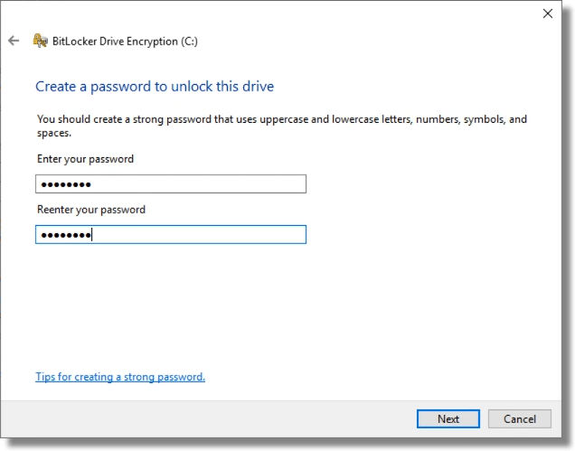 Specifying a Bitlocker Password