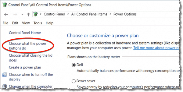 Choose what the power buttons do link