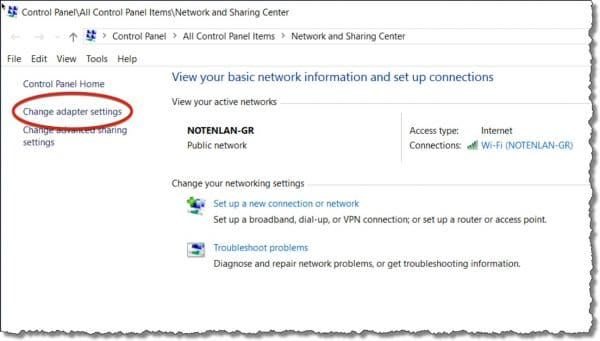 Windows Network and Sharing Center