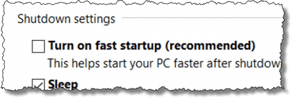 Turn on fast startup checkbox