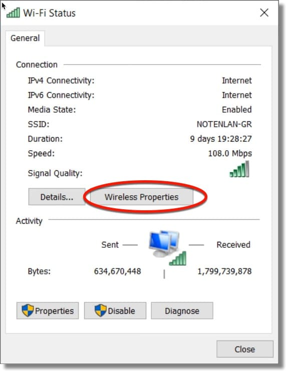 how to get wireless properties to show in wifi status