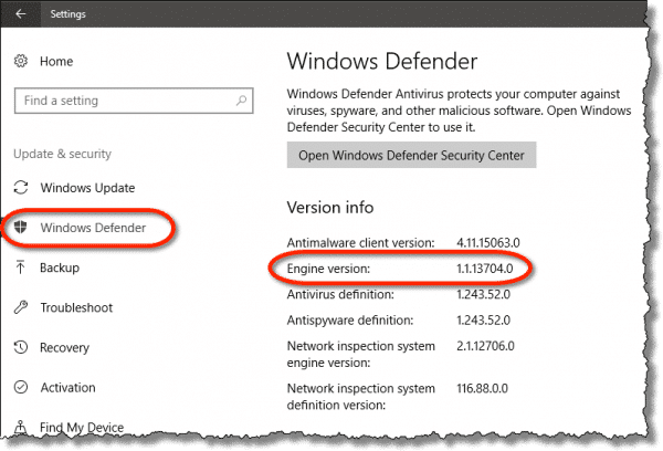 Windows Defender Engine Version