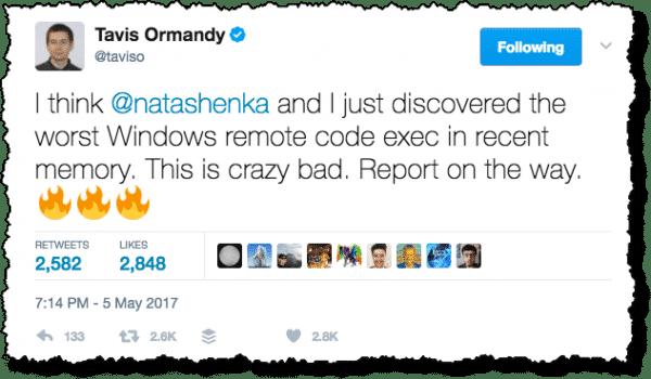 Travis Ormandy Tweet