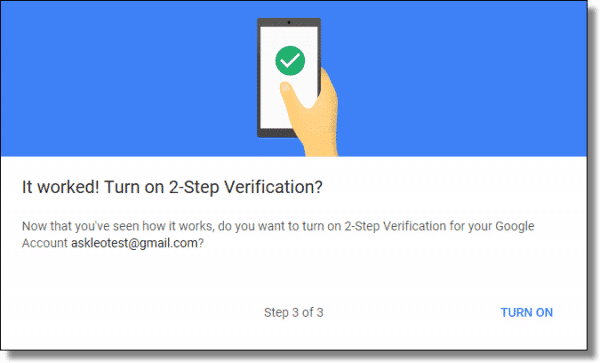 Google - Turn on 2 step verification