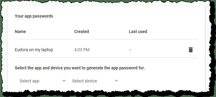 Existing App Password