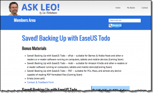 Saved! Backing Up With EaseUS Todo - Members Area