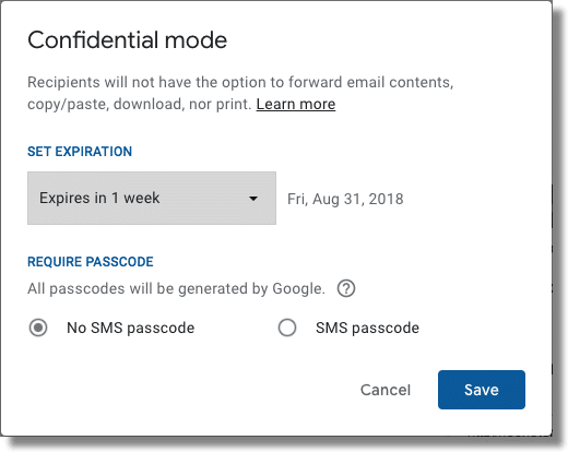 Confidential Mode Options