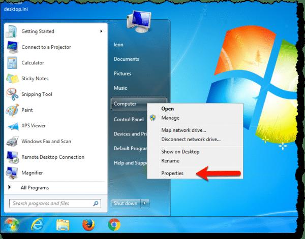 Computer Properties Link in Windows 7