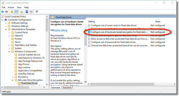 Configure the use of hardware encryption line item