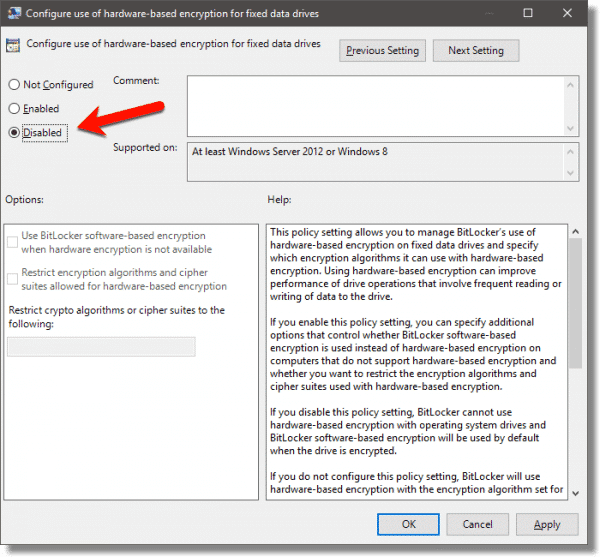 Disable the use of hardware-based encryption