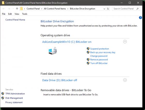 Manage Bitlocker dialog